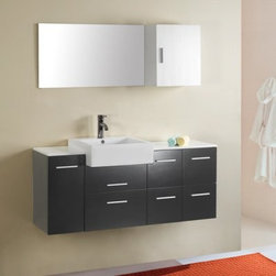 Virtu USA Hazel 55-in. Wall Mount Espresso Single Bathroom Vanity Set UM-3055 - The bathroom of your dreams is within easy reach when you install the Virtu Hazel Single Sink Wall Mount Black Vanity Complete Set. This vanity comes complete with everything required for a quick, painless bathroom makeover. You receive a durable wood base cabinet finished in a rich black, along with a sink, faucet and drain system, hanging wall mirror with wall-mounted storage cabinet, and all required hardware. It couldn't be simpler.Tons of storage and a sleek, modern look are built right into the base cabinet of this vanity. It's made using a sturdy framing technique using durable rubberwood, which is finished with two coats then topped with a moisture-resistant clear-coat. The wood is resistant to moisture and humidity, meaning it won't crack or warp even in the high-moisture environment of the bathroom. The cabinet contains a total of five easy-open drawers and one cabinet with door on the left side.The cabinet is topped with a white countertop, which sits level on both sides of the deep, block-style basin sink. The sink is what gives this piece its true contemporary look: it's rectangular in shape and extra-deep for a sense of luxury. Also included is an elegant vertical faucet with pop-up back-mounted drain system, made from solid brass and finished in bright chrome. Finally, a rectangular wall mirror with side storage cabinet comes with and can be mounted right above the sink to complete the look.This set is designed to mount directly into the wall studs of your bathroom, leaving the floor space open beneath for a light look and ease of use. Set it at the height you require for total comfort. All required installation hardware is included.Detailed Dimensions:Main cabinet: 55.1W x 14.6D x 22.8H inchesMirror cabinet: 15.7W x 8.7D x 19.7H inchesMirror: 35.4W x 0.2D x 19.7H inchesSink basin: 17.7W x 17.7D x 6.7H inches