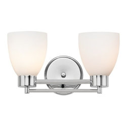 Design Classics Lighting - Modern Bathroom Light with White Glass in Chrome Finish - 702-26 GL1028MB - Contemporary / modern chrome 2-light bathroom light. A socket ring may be required if installed facing down. Takes (2) 100-watt incandescent A19 bulb(s). Bulb(s) sold separately. UL listed. Damp location rated.