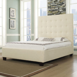 """dCOR design - Malibu-X Platform Bed - Features: -Hand crafted and assembled button tufted.-Tall and comfortable headboard.-Solid foundation.-Holds a mattress only.-Solid Wood Construction: Yes.-Upholstered: Yes -Upholstered Section: Headboard, footboard, frame.-Upholstery Material: Leather and fabric.-Upholstery Fill Material: High density, high quality inner foam.-Tufted: Yes..-Mattress Included: No.-Box Spring Required: No.-Headboard Storage: No.-Trundle Bed Included: No.-Attached Nightstand: No.-Built in Outlets: No.-Lighted Headboard: No.-Distressed: No.-Eco-Friendly: Yes.-Canopy Frame: No.-Hidden Storage: No.-Swatch Available: Yes.Specifications: -CA foam.-CARB certified.-CARB Compliant: Yes.Dimensions: -Wooden Feet Dimension: 4''.-Overall Height - Top to Bottom (Size: California King): 63"""".-Overall Height - Top to Bottom (Size: King): 63"""".-Overall Height - Top to Bottom (Size: Queen): 63"""".-Overall Width - Side to Side (Size: California King): 77"""".-Overall Width - Side to Side (Size: King): 81"""".-Overall Width - Side to Side (Size: Queen): 65"""".-Overall Depth - Front to Back (Size: California King): 89"""".-Overall Depth - Front to Back (Size: King): 85"""".-Overall Depth - Front to Back (Size: Queen): 85"""".-Overall Product Weight (Size: California King): 200.62 lbs.-Overall Product Weight (Size: King): 235.89 lbs.-Overall Product Weight (Size: Queen): 191.8 lbs.-Headboard Dimensions Height (Size: California King): 63"""".-Headboard Dimensions Height (Size: King): 63"""".-Headboard Dimensions Height (Size: Queen): 63"""".-Headboard Width Side to Side (Size: California King): 77"""".-Headboard Width Side to Side (Size: King): 81"""".-Headboard Width Side to Side (Size: Queen): 65"""".-Headboard Depth Front to Back (Size: California King): 5.5"""".-Headboard Depth Front to Back (Size: King): 5.5"""".-Headboard Depth Front to Back (Size: Queen): 5.5"""".-Shelving: No.-Drawer: No.-Cabinet: No.-Trundle Bed: No.Assembly: -Assembly Required: Yes.Warranty: -Manufacturer provides one year warranty."""