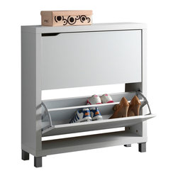 Baxton Studio - Baxton Studio Simms White Modern Shoe Cabinet - Stash your shoes stylishly in our Simms Shoe Cabinet. This modern shoe storage solution was designed with a low profile, svelte size as to fit neatly against a wall in a hallway, mud room, or entryway. Two storage compartments each fit six pairs of shoes comfortably for a total of approximately twelve shoe slots, which varies depending upon your shoes' sizes. The unit is made in Malaysia with an engineered wood frame, white paper veneer finish, plastic door supports, and silver plastic legs. The Simms Shoe Cabinet requires assembly and should be dry dusted. Separately offered is the Simms Cabinet in dark brown.