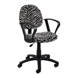 Boss Chairs - Boss Chairs Boss Zebra Print Microfiber Deluxe Posture Chair with Loop Arms - Thick padded seat and back with built-in lumbar support. Waterfall seat reduces stress to legs. Adjustable back depth. Pneumatic seat height adjustment. 5 star nylon base allows smooth movement and stability. Hooded double wheel casters. Comes in durable easy to clean microfiber. With loop arms.