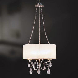 Eurofase - Eurofase 17504-027 Tempest 3 Light Up Lighting Pendant in Silver Leaf 17504-027 - Shimmering pleated shades perch atop curled arms, and a burnished vintage finish is complemented by a teardrop glass ornamentation. The finishing touch is matching beading, draped elegantly like a string of pearls across this resplendent design.B10 BulbBulb Base: E12 Bulb Included: No Bulb Type: Incandescent Collection: Tempest Crystal: Yes Diameter: 20 Extension: 72 Finish: Silver Leaf Height: 31 Light Direction: Up Lighting Max Wattage: 60 Number of Lights: 3 Pendant Type: Multi Light Safety Rating: cETLus Socket 1 Base: E12 Socket 1 Max Wattage: 60 Style: Transitional Suggested Room Fit: Kitchen Voltage: 120