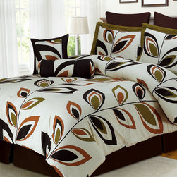"Simple Luxury - 8 Piece Venice Brown Bed-In-Bag Set - Update your bedroom decor quickly with this elegant and luxurious Venice 8-piece bedding set. Bedding set features a stylish foliage leaf design. Features: -Available in Queen and King sizes. -Set includes 1 comforter, 2 pillow-shams, 2 euro-shams, 1 decorative square pillow, 1 bed skirt and 1 neck roll pillow. -Available in Dark Brown and Dark Green colors. -Material: 100% cotton shell & 100% polyester filled. -Bed skirt with 15 drop. -Printed pillow shams, square pillow, comforter and neck roll pillow. -Solid bed skirt and Euro shams. -Care instructions: Machine washable, except pillows should be spot or dry clean only. Specifications: -Queen Comforter: 92"" x 92"". -King Comforter: 92"" x 106"". -Queen pillow shams: 20"" x 26"". -King pillow shams: 20"" x 36"". -Queen bed skirt: 60"" x 80"". -King bed skirt: 78"" x 80"". -Euro shams: 26"" x 26"". -Square Pillow: 18"" x 18"". -Neck roll pillow: 7"" x 18""."