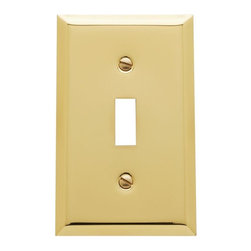 Baldwin Hardware - Beveled Edge 1 Toggle Wall Plate in Polished Brass (4751.030.CD) - Feel the difference as Baldwin hardware is solid throughout, with a 60 year legacy of superior style and quality. Baldwin is the choice for an elegant and secure presence. Baldwin guarantees the beauty of our finishes and the performance of our craftsmanship for as long as you own your home.