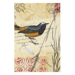 Yosemite Home Decor - Feathered I Art - Bird print on aged linen in shades of black, gold, red, and ecru with script writing, flourishes, and metallic overlays.