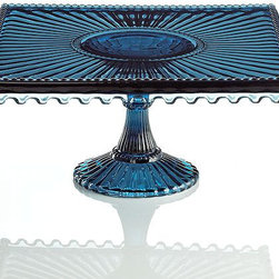 Modern Vintage Catalina Blue Square Cake Stand - This vintage cake stand comes in a gorgeous hue. I love the square shape with the scallops. Who says fall has to be all about autumnal colors?