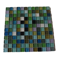 "GlassTileStore - Synergy Glass Tiles - Synergy Glass Tiles Tiles             Add a bursts of color to any room with this beautiful glass tile with a mixture of bright polished glass. This colorful design will give your kitchen, bathroom or any decorated room a bright and fresh look.         Chip Size: 1""x1""   Color:  Variety of Color -Shades of Blue, Shades of Green, Lilac, White, Black   Material: Glass    Finish: Polished   Sold by the Sheet - each sheet measures 12"" x 12"" (1 sq. ft.)   Thickness: 8 mm   Please note each lot will vary from the next."