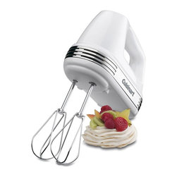 Cuisinart - Cuisinart HM-70 Power Advantage 7 Speed Hand Mixer - White - HM-70 - Shop for Hand from Hayneedle.com! Designed for maximum comfort and versatility the Cuisinart HM-70 Power Advantage 7 Speed Hand Mixer features a powerful auto-feedback motor that can handle everything from slowly combining dry ingredients to rapidly aerating egg whites. The included chef's whisk attachment helps you fluff up homemade whipped cream and fresh meringue quickly and easily.Additional information:Includes a recipe book whisk spatula and 2 beatersHighlighted with chrome accentsSmooth Start feature to eliminate messAutomatic feedback motor senses load level and ensures proper responseLED display and precision touch pad help for foolproof operation7 speeds mean all your kitchen needs are metStress-free balanced grip plastic base is easy to clean; simply wipe for instant results3-year limited manufacturer's warranty220-Watt Motor with Automatic Feedback: Robust enough to cut through a double batch of cookie dough or butter right out of the refrigerator the Cuisinart Power Advantage is powered by a 220-watt motor with automatic feedback. Automatic feedback eliminates the need for a power boost by automatically feeding in extra power when it's needed. By carefully monitoring the mixer's load level the internal motor mechanism ensures the mixer will never slow or power down even when used for extra-heavy-duty tasks.Versatile 7-Speed Mixing: Adjustable using the built-in touchpad controls the Cuisinart Power Advantage features seven mixing speeds for maximum versatility. Higher mixing speeds provide the necessary speed for whipping and aerating with the whisk attachment while lower mixing speeds provide greater control when folding or mixing dry ingredients. Two extra-long extra-wide beaters are designed with no center post to provide superior aerating mixing and whipping. The beaters are dishwasher-safe and eject with the push of a button.SmoothStart Feature Eliminates Mess: When yo