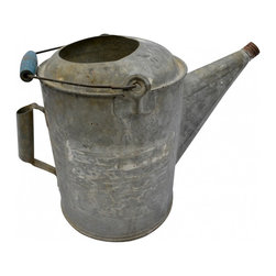 "Watering Can - Oversized, galvanized metal watering pail. Wooden handle on top with chippy blue paint. Second handle on the side. No rust inside or out. 12""h X 9""round."