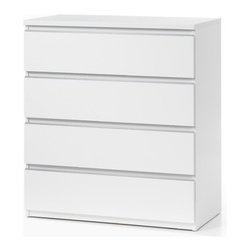 Tvilum - Tucson Bedroom 4 Drawer Chest - Features: -Tucson Bedroom collection. -Contemporary style. -Foil surface. -Four drawers. -Metal hardware. -Weight limit for top shelf: 66.12 lb. -Clean with damp cloth. -ISTA 3A certified.