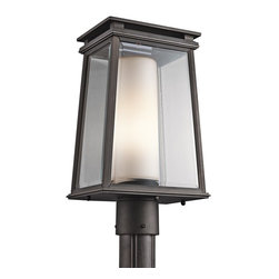 Kichler Lighting - Kichler Lighting Lindstrom Modern / Contemporary Outdoor Post Lantern Light X-ZR - Traditional details have been given a modern vibe thanks to the clean lines and contemporary influences on this charming Kichler Lighting outdoor post lantern light. From the Lindstrom Collection, the frame features a clear beveled glass exterior with a satin etched opal inner glass shade. The classic details of this traditional outdoor lighting fixture are complimented by a stylish Rubbed Bronze finish that adds to the appeal.