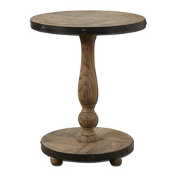 Uttermost - Kumberlin Weathered Wood Pedestal Table - This  rustic  weathered  wood  pedestal  table  is  crafted  from  natural  aged  pine  that  has  been  sanded  smooth  and  pieced  together  in  strips  for  a  unique  reclaimed-wood  look.  The  outside  edge  of  this  attractive  round  pedestal  table  features  an  aged  metal  band  in  black  that  encircles  both  the  tabletop  and  the  base  of  the  table.  A  hand-turned  balluster-style  pedestal  gives  the  table  a  truly  unique  look.  Assembly  required.                  Kumberlin  rustic  wood  table                                                                      Detail  of  aged  wood  table  top
