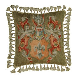 """EuroLux Home - New Aubusson Throw Pillow 20""""x20"""" Handwoven - Product Details"""