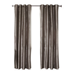 "Best Home Fashion - Dupioni Faux Silk Grommet Top Blackout Curtain - 1 Pair, Dark Grey, 84"" - Bring warmth and style to your home with these insulated Dupioni Faux Silk Blackout Curtains. The grommet top adds a modern touch and provides energy efficient comfort. This item features an innovative triple weaved blackout liner. Compared to the other blackout curtains, our product is extremely soft and drapable. Blackout curtains are perfect for : Late sleepers, Shift workers, Seniors, Nurseries, Students, Computer Operators, etc."