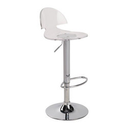 """LumiSource - Venti Bar Stool - This sleek, chrome bar stool with a clear acrylic seat will add a contemporary flair to your bar. The seat rotates 360 degrees and is attached to a chrome stem and footrest. Seat adjusts from 22.5 to 30.5 inches. NOTE: the Venti has a thinner acrylic seat than the BS-ACRYLIC stool that is a LumiSource best seller. Features: -Bar stool. -Clear color. -Acrylic and chrome construction. -Contemporary style. -Seat rotates 360 degree. -Overall dimensions: 38"""" H x 14"""" W x 17"""" D."""