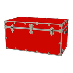 Rhino - Toy Trunk - Red (Large) - Choose Size: LargeWheels are not included. Includes two nickel plated steel universal wheel adapter plates. Wheel adapter plates mounted on side of the trunk. American craftsmanship. Several obscure ventilation holes to provide plenty of air should your child ever go into the trunk and have someone close it on them. Strong hand-crafted construction using both old world trunk making skills and advanced aviation rivet technology. Steel aircraft rivets are used to ensure durability. Heavy duty proprietary nickel plated steel latches and hardware. Heavy duty nickel plated steel lid hinges plus lid stays for keeping lid propped open. Tight fitting steel tongue and groove lid to base closure to keep out moisture, dirt, insects, odors etc.. Stylish lockable nickel plated steel trunk lock has loop for attaching padlock. Discrete ventilation holes. Special soft-close lid stay. Nylon cordura exterior laminate. Lifetime warranty. Made from 0.38 in. premium grade baltic birch hardwood plywood with nickel-plated steel hardware. Large: 32 in. W x 18 in. D x 14 in. H (29 lbs.). Extra large: 36 in. W x 18 in. D x 18 in. H (36 lbs.). Jumbo: 40 in. W x 22 in. D x 20 in. H (67 lbs.). Super jumbo: 44 in. W x 24 in. D x 22 in. H (69 lbs.)Safety First! A superior quality, heavy-duty toy trunk that¢s designed for a child¢s well-being, yet looks handsome in any room. Toy Trunk is constructed from the highest quality components. This treasure chest incorporates several safety features to insure that it¢s child friendly. Those include small ventilation holes should a child ever decide to climb in and take a nap, as well as specially designed, American made soft-close lid stays. The lid stays keep the lid from slamming shut. In fact, the lid will only close if you push it down. This will keep small hands protected. Also, the toy trunk will not lock on its own. Toy Trunk are conveniently sized and ruggedly built. They¢re strong enough to stand on! Best of all, these advanced design wheels do not add any extra height to the trunk. Even with the wheels on, the trunk is stackable.