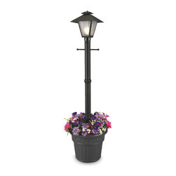 Patio Living Concepts - Patio Living Concepts Cape Cod 66000 80 Inch Black - Single Coach Lantern Plante - 66000 80 Inch Black - Single Coach Lantern Planter belongs to Cape Cod Collection by Patio Living Concepts Design inspired by turn of the century gas flame lanterns. This electric waterproof lantern planter features frosted bevel panels, black resin construction and cast iron colored resin planter base. Two level dimming switch and 10 ft. weatherproof cord and plug. 1-100 watt bulb maximum. Model # 66000 Lantern (1)