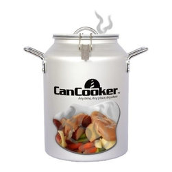 Can Cooker Inc - Can Cooker - Convenient and healthy outdoor cooking system. Produces deep penetrating steam that cooks food to perfection in one hour. Easy to use, simple preparation and a heat source is all you need. Ideal for picnics, camping, hunting, tailgating and backyard cooko  uts. 14'' tall, 10'' diameter.          Size Gal=4