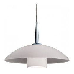 """Bruck Lighting - Jas LED Pendant Light w White Matte Glass (Matte Chrome No Canopy) - Finish: Matte Chrome No Canopy. Pictured in Matte Chrome. Glass Color: White Matte Glass. Mounting: No Canopy. Energy efficient . 12V AC/DC Input * 700mA DC constant current output. 6A, 5W for 1 (3 Watt LED) Included * 3000K / 68 Ipw. Suitable for dry location only. Compatible with selected Bruck electronic transformers and must meet the minimum VA. Overall Dimensions: 2.4"""" H x 7"""" Dia. Made in U.S.A.The Jas 3 Watt LED Pendant with wire mesh accents. Uni-plug design allows Sierra 3 Watt LED pendant to be mounted on any lighting system through the use of an appropriate adaptor, not included. Standard cable length of 59""""."""