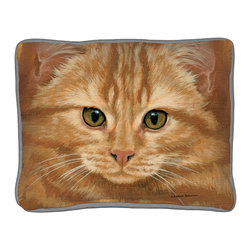 335-Orange Tabby Cat Pillow - Everything you're looking for when it comes to a quality, decorative pillow.  Suited inside on your living room sofa or propped on an outdoor patio bench. Silkscreened on 100% cotton canvas, filled with polyfil, trimmed with coordinated gray cotton cording.