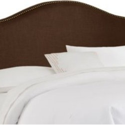 Skyline Furniture - Skyline Nail Button Arched Headboard in Chocolate - Turn your bedroom into a designer showpiece with the addition of this fashionable headboard. Upholstered in soft, luxurious chocolate linen and embellished with decorative brass nail buttons along its gently-curved silhouette.