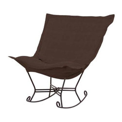Howard Elliott Sterling Chocolate Scroll Puff Rocker - Mahogany Frame - The Sterling Puff Chair is a simple yet sophisticated piece. The fabric features a hopsack look with a crisp hand rich color.