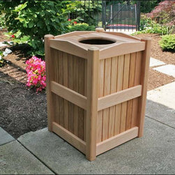 Fifthroom - Red Cedar Trash Can Receptacle - Okay, garbage isn�t pretty.  This trash can knows that, and stands proud in Western Red Cedar to hide it with ease.  Perfect for the outdoors, this wooden trash receptacle will keep your grounds clean without taking away from the landscape design.