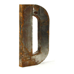 """Kathy Kuo Home - Industrial Rustic Metal Large Letter D 36""""H - Create a verbal statement!  Made from salvaged metal and distressed by hand for an imperfect, time-worn look."""