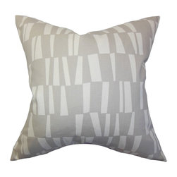 The Pillow Collection - Iker Geometric Pillow Gray - Reinvent your home with this transitional statement piece. This throw pillow provides a cozy vibe to your home with its 100% soft cotton material. A geometric pattern in shades of gray and white are featured in this square pillow. You can easily mix and match this contemporary pillow with solids and other patterns. Crafted in the USA. Hidden zipper closure for easy cover removal.  Knife edge finish on all four sides.  Reversible pillow with the same fabric on the back side.  Spot cleaning suggested.
