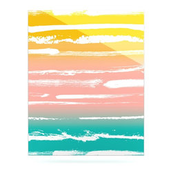 """Kess InHouse - Anneline Sophia """"Painted Stripes Peach"""" Pink Teal Metal Luxe Panel (24"""" x 36"""") - Our luxe KESS InHouse art panels are the perfect addition to your super fab living room, dining room, bedroom or bathroom. Heck, we have customers that have them in their sunrooms. These items are the art equivalent to flat screens. They offer a bright splash of color in a sleek and elegant way. They are available in square and rectangle sizes. Comes with a shadow mount for an even sleeker finish. By infusing the dyes of the artwork directly onto specially coated metal panels, the artwork is extremely durable and will showcase the exceptional detail. Use them together to make large art installations or showcase them individually. Our KESS InHouse Art Panels will jump off your walls. We can't wait to see what our interior design savvy clients will come up with next."""