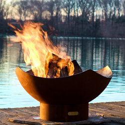 Fire Pit Art - Manta Ray Wood Burning Firepit - The Manta Ray not only looks like a giant ocean dwelling predator, but also resembles flower pedals.  Very simple but still decorative.  Each one is made to order so you know that you have a one of a kind work of art.