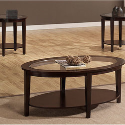 Dimensions - Oval 3-piece Table Set - Set includes: One (1) coffee table, two (2) end tables Materials: solid wood, MDF, glass Finish: Espresso