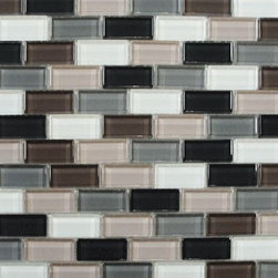 Interceramic Shimmer Blend glass mosaic mini-subway, Autumn - Interceramic Shimmer Blend glass mosaic mini-subway, Autumn