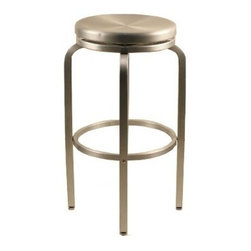 """Alston - 24"""" Paula Brushed Aluminum Counter Stool - Made of brushed aluminum, this sleek stool is great indoors and out. The stool is lightweight and comfortable, so its great for the porch or patio, by the pool or even for an outdoor caf, bar or restaurant. With a round seat, this counter stool is made with a comfortable and durable design. Features: -Brushed aluminum frame. -Round seat. -Comfortable and durable design. -1 year manufacturer warranty. -Suitable for indoor and outdoor use. -Suitable for Commercial/Residential Use. -24"""" seat height. -Overall Dimensions: 24"""" H x 15"""" W x 15"""" D."""