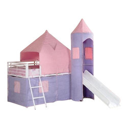 Coaster - Twin Loft Bed (Pink/Purple) By Coaster - Majestic and fun, this Castle Styled Twin Loft Bed by Coaster, is the dream space for any little girls room. This item will make a great addition to your home. Dimension: Castle Styled Twin Loft Bed - coaster 460279(79.75 x 101 x 93.25 )