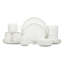 Camden Bone China 16-Piece Dinnerware Set - Simple coupe shapes in durable bone china define contemporary everyday dining.