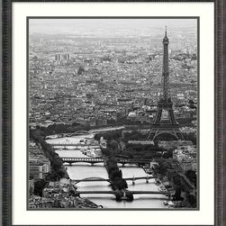 "Amanti Art - ""Bord de Seine"" Framed Print by Guillaume Plisson - What could be more glamorous than vintage Paris? This stunning black and white urban portrait features the iconic architecture of the Eiffel Tower, and comes framed in black wood with romanesque detail, for an ultra-sophisticated look for your decor."