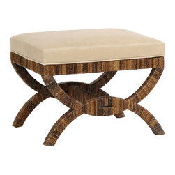 Palecek - Havana Upholstered Bridge Stool - Smooth style is complemented by textured accents on the transitional Havana Bridge stool. Boasting an eclectic curved design, brown rope-covered legs give rise to the foot rest's clean-lined and comfortable cushion. Available in several upholstery options; Option to send in up to 2 COM fabrics; Plantation hardwood frame and legs; Havana rope