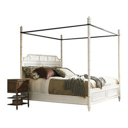 Henry Link - Henry Link West Indies Poster Canopy Bed in Weathered White Finish-Queen Size - Henry Link - Beds - 014011114C