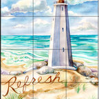 The Tile Mural Store (USA) - Tile Mural - Refresh - Kitchen Backsplash Ideas - This beautiful artwork by Danielle Acerra has been digitally reproduced for tiles and depicts a lighthouse beach scene.  Our lighthouse tile murals and nautical themed decorative tiles are perfect as part of your kitchen backsplash tile project or your tub and shower surround bathroom tile project. Lighthouse images on tiles add a unique element to your tiling project and are a great kitchen backsplash idea. Use a lighthouse scene tile mural for a wall tile project in any room in your home where you want to add interest to a plain field of wall tile.