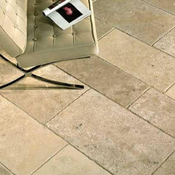 French Limestone Flooring- St. Raphael Mix- Francois & Co. - French Limestone with a medium grain portraying light to medium beige color and small fossils.