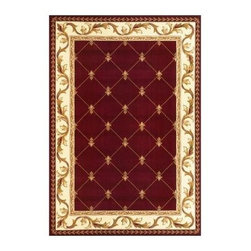 """Kas Rugs - Area Rug: Fleur-De-Lis Red 2' 3"""" x 3' 3"""" - Shop for Flooring at The Home Depot. This series uses heat-set yarns and hand carved with specific attention to detail. This line features classic Aubusson floral patterns, a look usually found only in traditional hand knotted collections. This timeless classic has been designed with today's colors in mind, bringing a beautiful blend of yesterday and today in your home."""