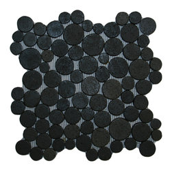 """CNK Tile - Glazed Black Moon Mosaic Tile - Each stone is carefully selected and hand-sorted according to color, size and shape in order to ensure the highest quality pebble tile available.  The stones are attached to a sturdy mesh backing using non-toxic, environmentally safe glue.  Because of the unique pattern in which our tile is created they fit together seamlessly when installed so you can't tell where one tile ends and the next begins!     Usage:    Shower floor, bathroom floor, general flooring, backsplashes, swimming pools, patios, fireplaces and more.  Interior & exterior. Commercial & residential.     Details:    Sheet Backing: Mesh   Sheet Dimensions: 12"""" x 12""""   Pebble size: Approx 3/4"""" to 2 1/2""""   Thickness: Approx 3/8""""   Finish: Glazed Black"""