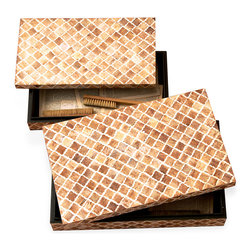 Kathy Kuo Home - Zanzibar Modern Rustic Bone Wood Decorative Boxes - Showcase your wanderlust with this decorative box. Exquisitely crafted from indigenous Indian rosewood, the carved bone pattern features warm natural hues.  Removable lid reveals a sleek black matte interior. Passport storage anyone?