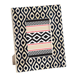Dancing Waters Photo Frame, Large - Our dramatic Dancing Waters photo frame puts your treasured pictures in the limelight. Handmade by our artisans from sustainably grown mango wood, the handpainted black ikat motif evokes the graceful ripples of a mountain stream. Give fond memories pride of place in your home with this stunning frame.