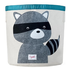 3 Sprouts - 3 Sprouts Storage Bin, Raccoon - Help your kids clean up their acts with our cute raccoon pattern animal storage bins in gray from 3 Sprouts . This bin is well sized for storing toys or as a laundry hamper. The bin collapses for easy storage when not in use. It is made up of 100% cotton canvas and coated on the inside for easy cleaning. It is the perfect gift for babies and toddlers.
