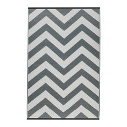 Fab Habitat - Laguna Rug, Paloma & White (5' x 8') - Chevrons are oh-so-chic, and this eco-stylish rug will display the graphic pattern in such an innovative way on your floor. Crafted using Fair Trade principles, this all-weather rug is a design statement you can feel good about. Its bold pattern is created using high quality recycled woven plastic straws, and comes in a variety of sophisticated colors and sizes.