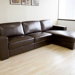 Baxton Studio Susanna Brown Shiny Leather Large Sectional Sofa with Chaise - Upholstery Sectional Sofa Reverse - Dark Brown Finish