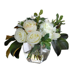 Jane Seymour Botanicals - Mixed Bouquet in Glass Vase - Treat yourself to an elegant permanent floral display with this mixed bouquet of white amaryllis, roses and magnolias. The square glass vase features a water illusion that creates a look so real, you might just find yourself leaning over to catch a whiff.