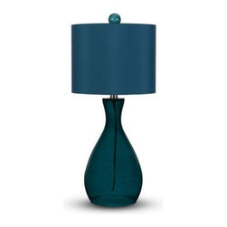 Angelo Surmelis Mercer Table Lamp - Blue - The rich, oceanic hue of the Angelo Surmelis Mercer Table Lamp – Blue adds a refreshing burst of color to your living room setup, or on your bedside table. The perfect amount of light shines out from the hard-backed shade, while giving the base a gentle glow. The translucent hand-blown glass base and monochromatic color scheme enhance the sophisticated simplicity of this piece. Light bulb is not included.About angelo:HOME:When he was 6, Angelo Surmelis and his family moved from Greece to the United States. In their new home, 6-year-old Angelo started dragging furniture around, rearranging it. From that early age, he believed that your space - and the way it's arranged - can change the way you feel. This philosophy has landed him on design series on TLC, Lifetime, The Style Network, and HGTV, as well as several different television talk shows. Now, with Angelo's line of furniture and accessories, you can change your space - and the way you feel - quickly and affordably.